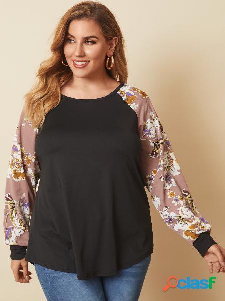 Yoins plus blusa de mangas compridas com estampa floral em patchwork com decote redondo
