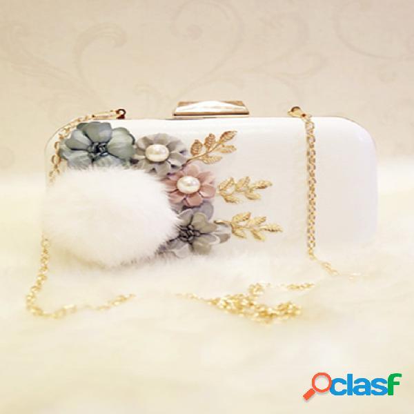Bola de peles e enfeites florais crossbody bolsa