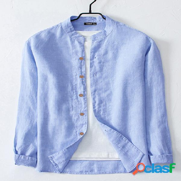 Homem elegante casual botão de linho design gola longa manga longa camisa