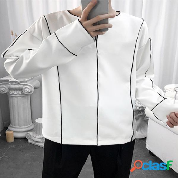 Incerun homens casual com decote em v branco manga longa camisa