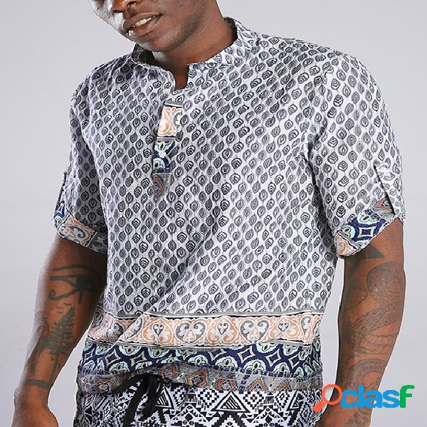 Incerun homens verão bohemian style ethnic print henley camisa