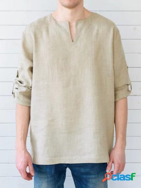 Incerun linho masculino ajustável manga longa com decote em v pregueado camisa
