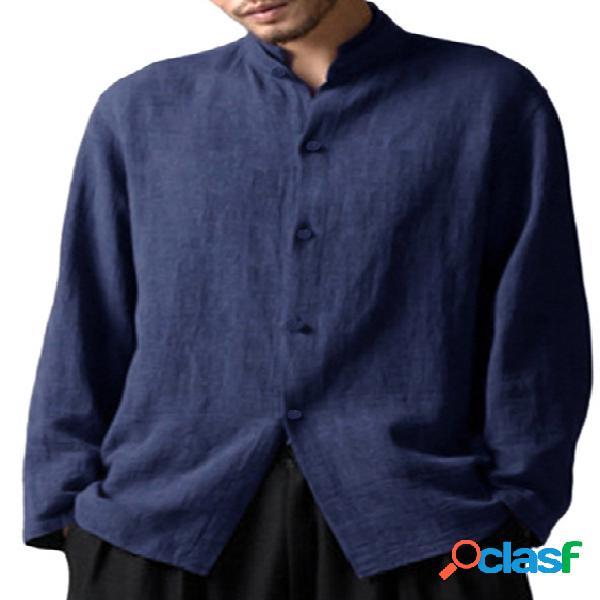 Incerun homens estilo chinês solto fit manga longa casual henley camisa