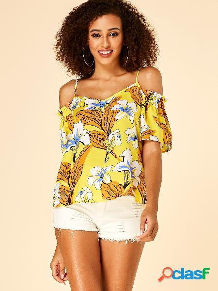 Yoins blusa amarela com estampa floral de ombro frio e borda de alface