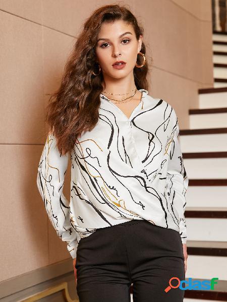 Yoins blusa de mangas compridas com estampa branca com decote em v