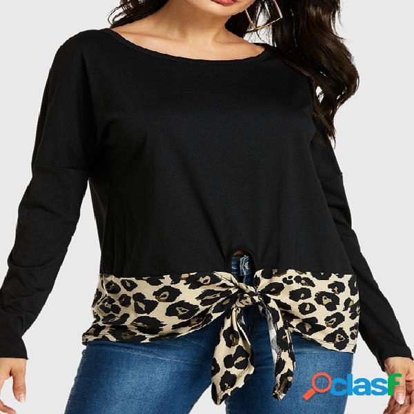 Yoins camiseta de mangas compridas com nó em patchwork preto leopardo
