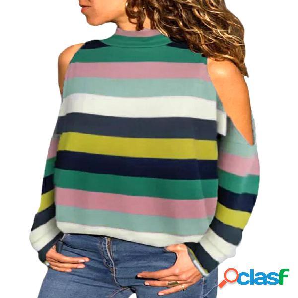 Camiseta de manga comprida de manga comprida multicolorida