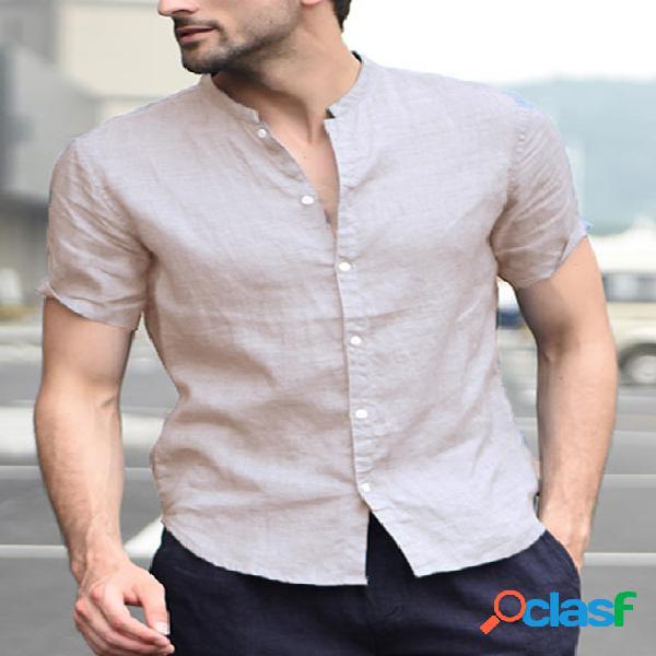 Incerun homens com colarinho de algodão camisa