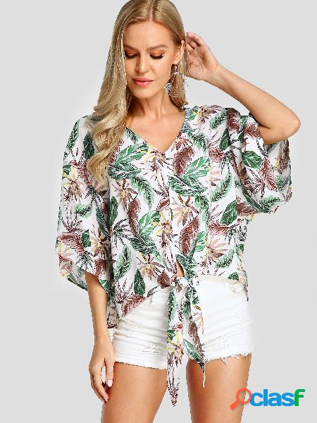 Yoins blusa branca knotted v-neck tropical folha print