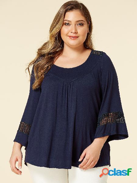 Yoins plus tamanho navy hollow design blusa de mangas compridas com decote redondo