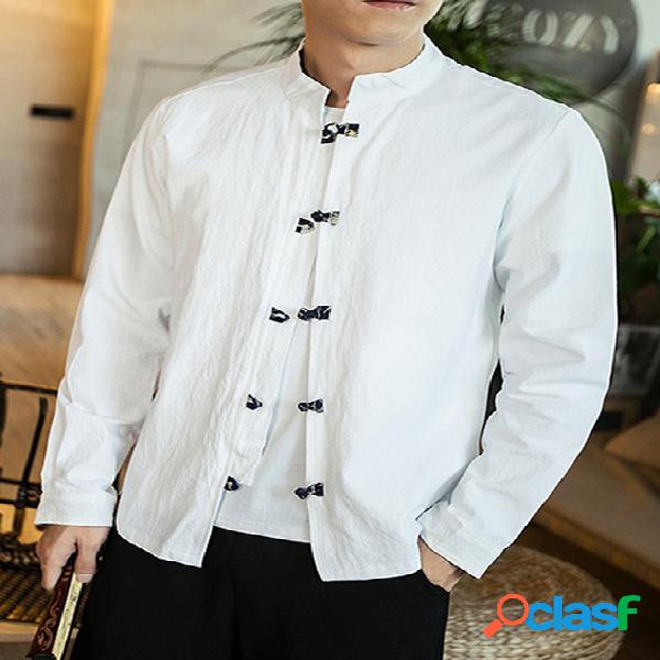 Homens estilo chinês solto casual manga comprida camisa