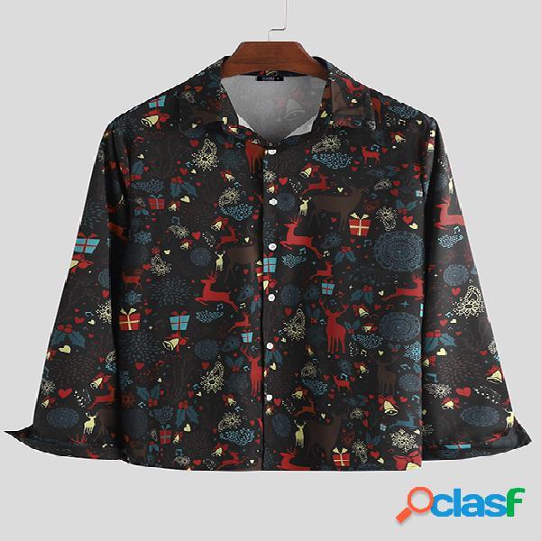Incerun homens lapela de manga comprida de impressão de natal camisa blusa de botão casual engraçada