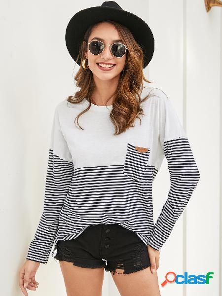 Yoins black pocket design patchwork camiseta de mangas compridas em volta do pescoço