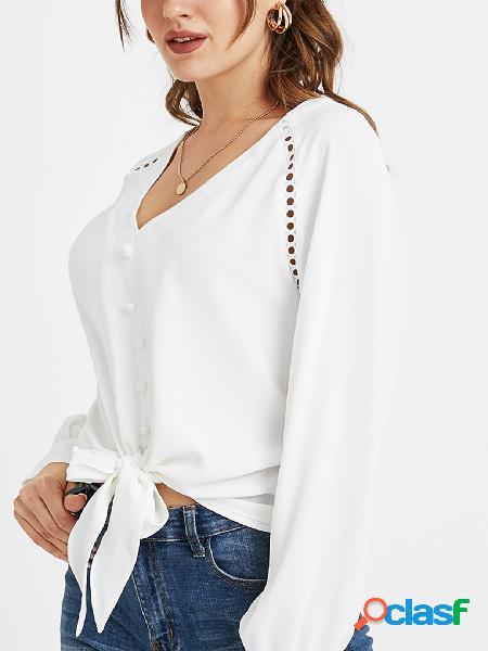 Yoins blusa branca bowknot com decote em v de mangas compridas