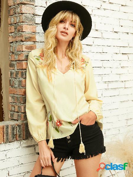 Yoins blusa de manga comprida floral bege com alça elástica com decote em v