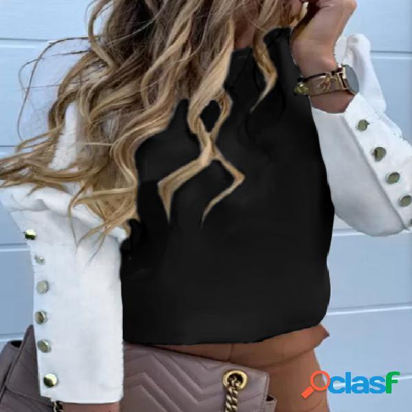 Yoins botão preto design blusa de mangas compridas patchwork gola redonda