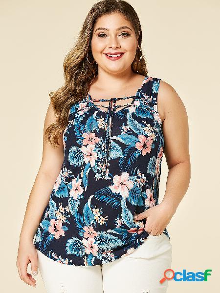 Yoins plus tamanho marinho estampa floral com cordão com decote em v design colete