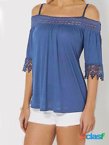 Yoins blue patchwork cold shoulder half sleeves tee
