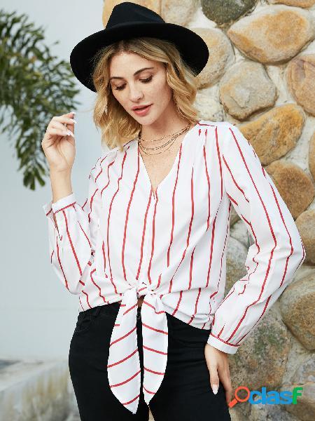 Yoins blusa branca listrada com decote em v de mangas compridas