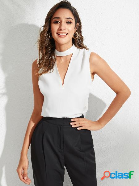 Yoins blusa sem mangas recortada branca