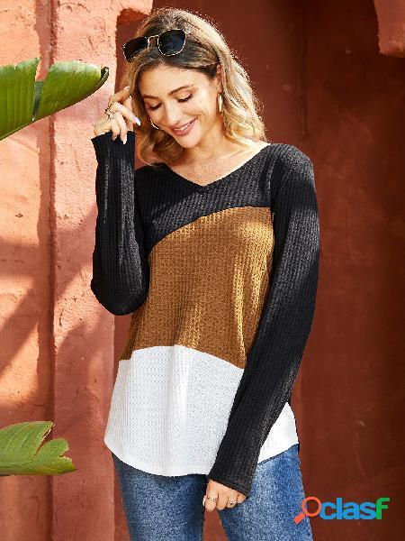 Yoins venda de ano novo marrom patchwork com decote em v camiseta de mangas compridas