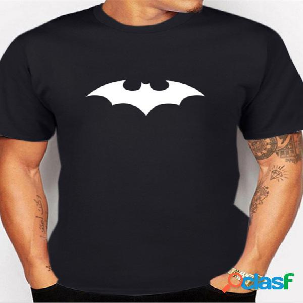 T-shirt de impressão gráfica masculina de verão em gola redonda