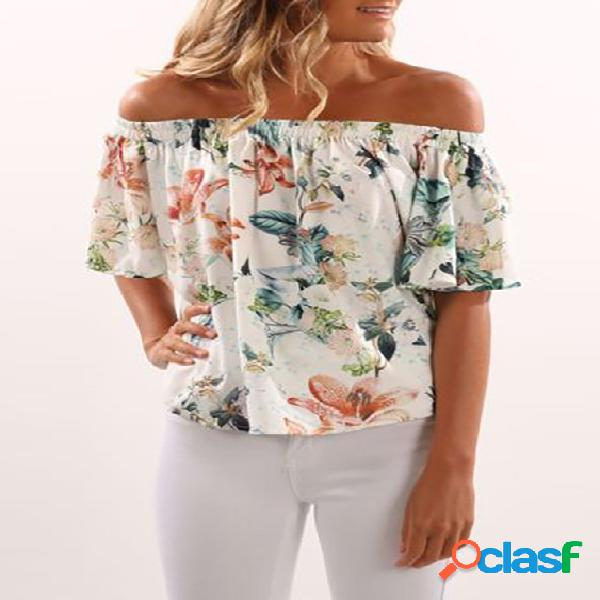 Blusa branca com estampa floral aleatória fora do ombro design