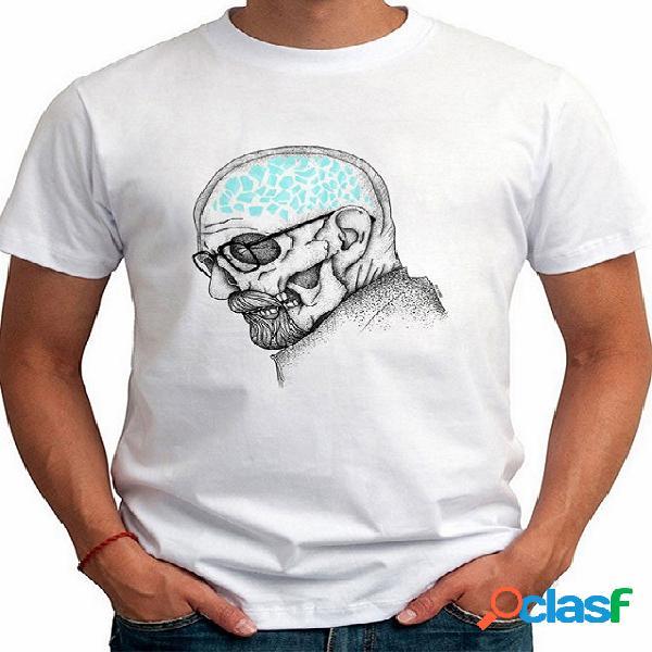 T-shirt de gola redonda masculina casual verão simples desenho animado