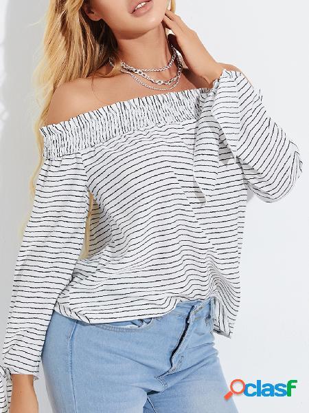 Yoins blusa de mangas compridas com listras brancas fora do ombro
