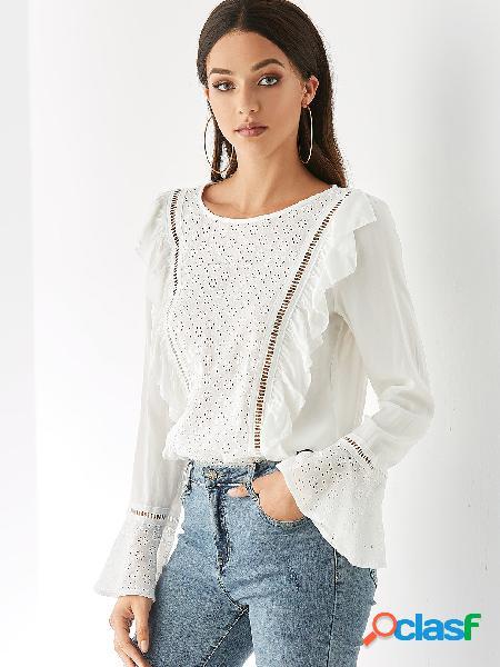 Yoins blusa branca de mangas compridas em gola redonda bell