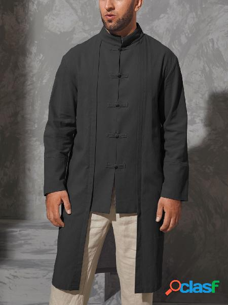 Masculino casual outono estilo retro colarinho liso midi camisa
