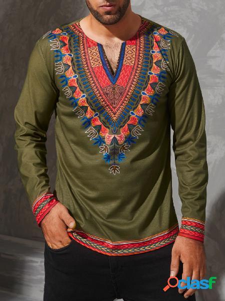 T-shirt de manga comprida com decote em v masculino casual tribal étnico estampado