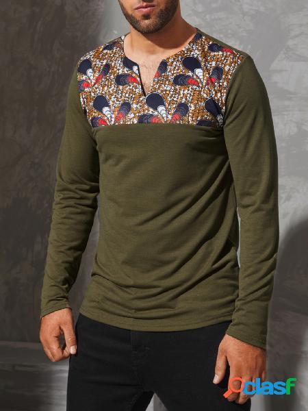 Yoins basics masculino casual tribal estampa estilo étnico com decote em v camiseta de manga comprida emendada