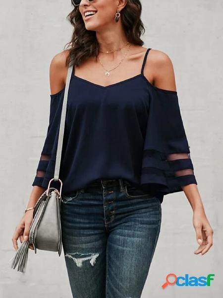 Yoins blusa de mangas compridas em malha patchwork ombro frio
