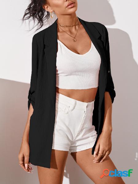 Yoins lapela colarinho manga ajustável comprimento blazer
