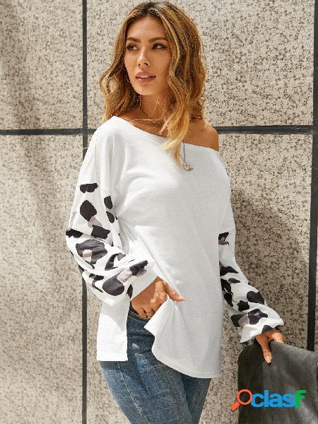 Yoins leopard patchwork one camiseta de mangas compridas de ombro