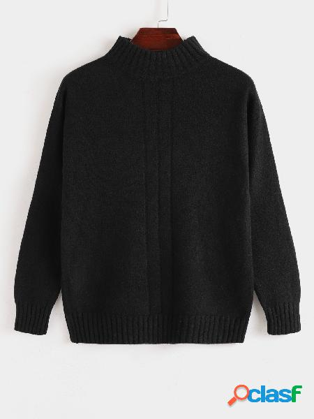 Camisola masculina outono inverno com gola redonda sólida casual de malha
