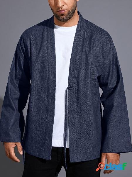 Casaco protetor solar masculino casual retrô cardigan de cor sólida