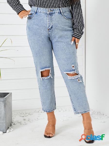 Plus tamanho classic cinco bolsos recortados jeans