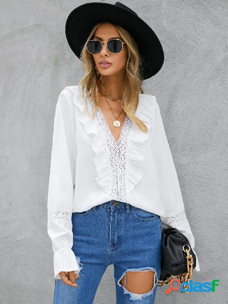 Yoins blusa de mangas compridas com decote em v branca babado
