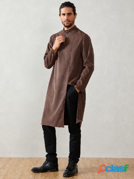Homem casual árabe islâmico muçulmano médio comprimento colarinho de botão camisa