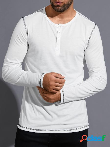 Yoins basics masculino casual cor sólida botão frente confortável camiseta