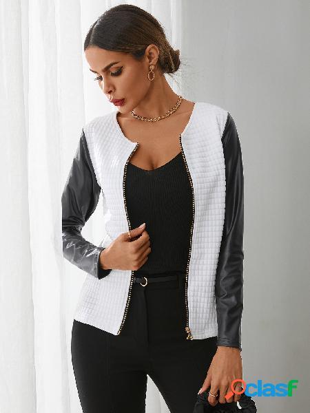 Yoins patchwork zip design jaqueta de mangas compridas