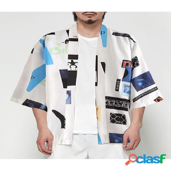 Masculino retro quimono protetor solar cor bloco desenho animado cardigan