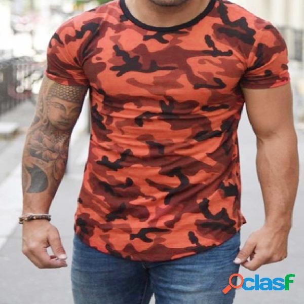 Camiseta masculina verão algodão soft casual estampa camuflada