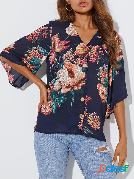Yoins blusa de manga curta com estampa floral com estampa floral em v