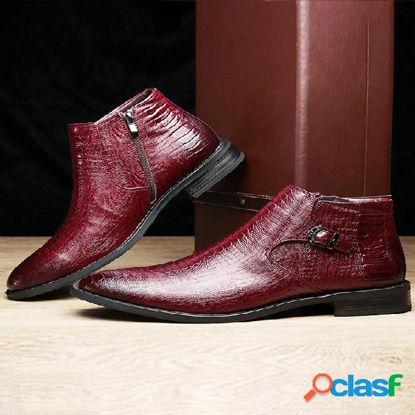 Banda elástica masculina com padrão de couro genuíno bota casual macia