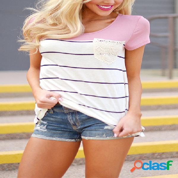 Stripe padrão costura camisetas de mangas curtas em rosa