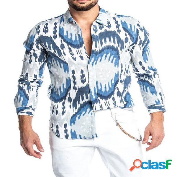 Algodão masculino soft todo impresso em lenço estampado na frente do botão camisa