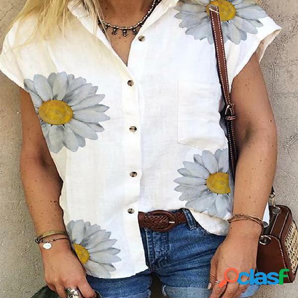 Blusa de mangas curtas de gola clássica aleatória de estampa floral branca
